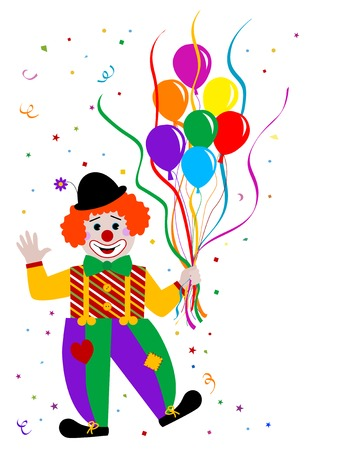 Laughing clown with balloons