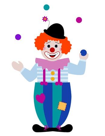 juggling: Un payaso malabarista bolas de colores Vectores