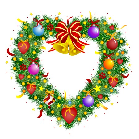 Heart shaped wreath - Christmas decoration Vector