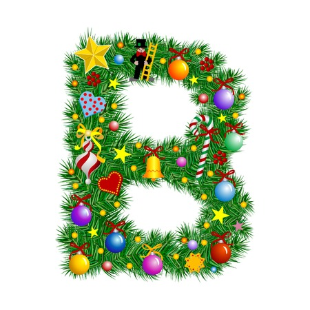 Letter B - Christmas tree decoration - Alphabet Vector