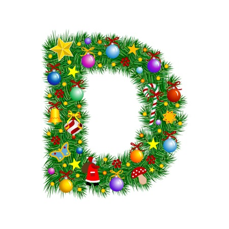 Letter D - Christmas tree decoration - Alphabet