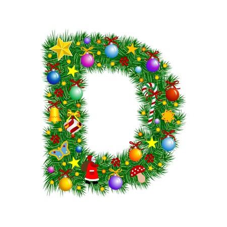 Lettera D - albero di Natale decorazione - Alfabeto Vettoriali