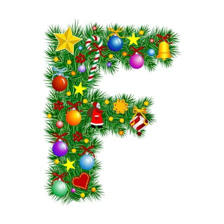 Letter F - Christmas tree decoration - Alphabet Illustration