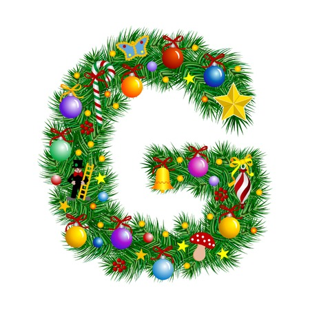 Letter G - Christmas tree decoration - Alphabet Vector
