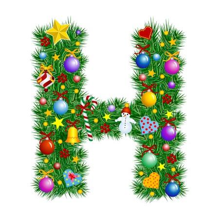 alfabeto: Letra H - �rbol de Navidad decoraci�n - Alfabeto