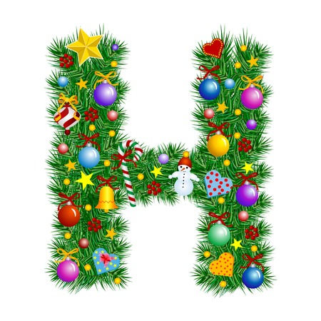 Letter H - Christmas tree decoration - Alphabet Vector