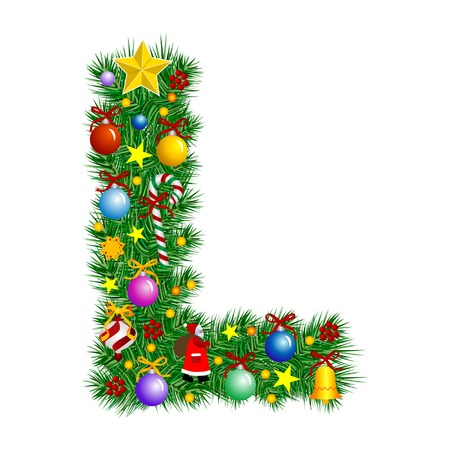 Letter L - Christmas tree decoration - Alphabet Illustration
