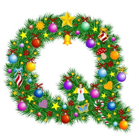 fonts vector: Letter Q - Christmas tree decoration - Alphabet