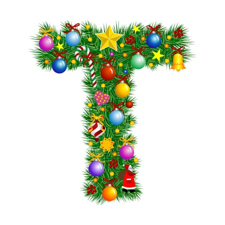 Letter T - Christmas tree decoration - Alphabet Illustration