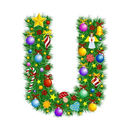 Lettera U - albero di Natale decorazione - Alphabet  Vettoriali