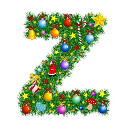 Letter Z - Christmas tree decoration - Alphabet