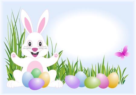 Pasqua coniglio, uova e farfalla  Vettoriali