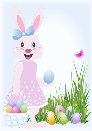 Easter bunny with basket and eggs hidden in the grass Stock Vector - 2362095