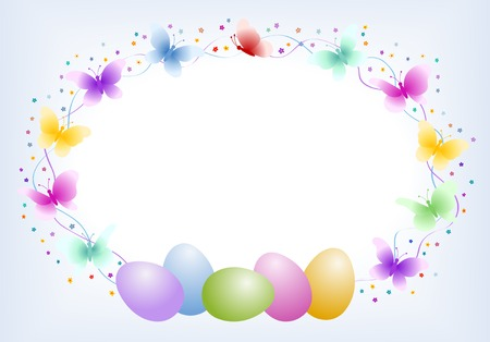 Easter eggs with butterfly - oval frame Illustration