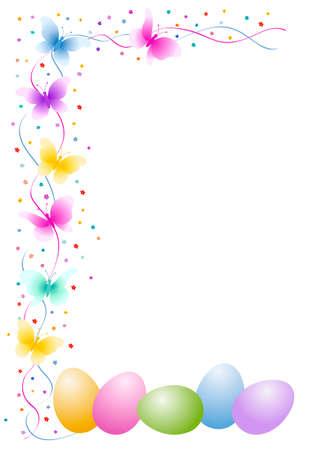 cartoon frame: Uova di Pasqua con farfalla e fiori