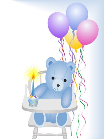 1st birthday:  boy first birthday Illustration