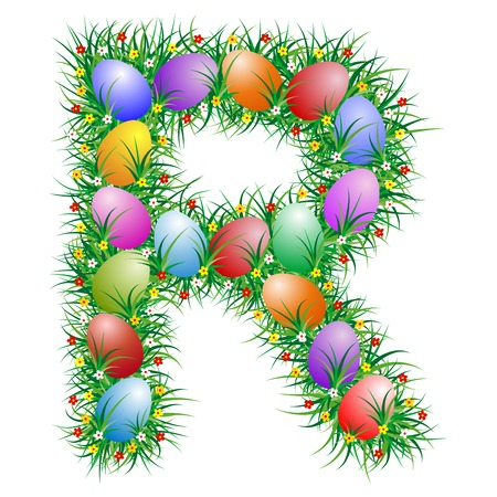 Easter letter R with eggs hidden in the grass Vector