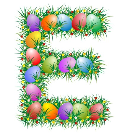 Easter letter E with eggs hidden in the grass