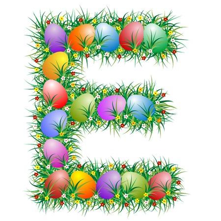 Pasqua lettera E con uova nascoste in erba