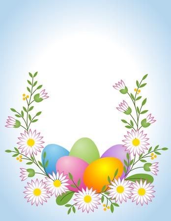 time frame: Easter egg with daisy Illustration