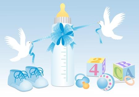 Baby boy oggetti con colombe bianche