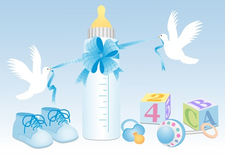 boy objects with white doves Illustration