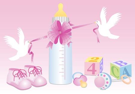 Bambina oggetti con colombe bianche  Vettoriali