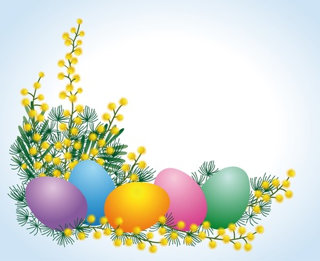 Mimosa and easter eggs Vector