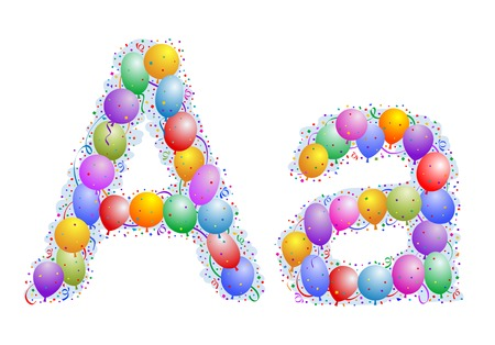 word balloon: Balloons and confetti – Letter A Illustration