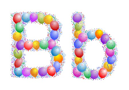 word balloon: Balloons and confetti – Letter B Illustration