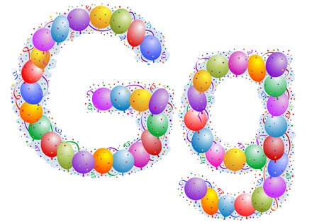 Balloons and confetti � Letter G