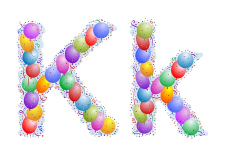 Balloons and confetti � Letter K Illustration