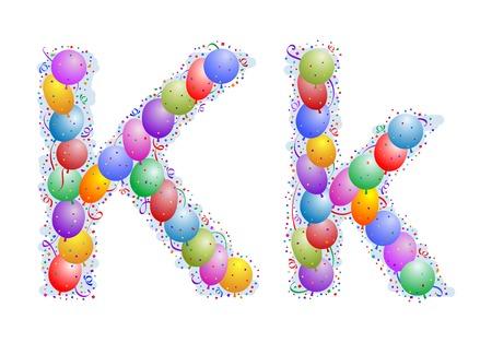parade confetti: Globos y confeti - Letra K  Vectores