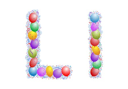 Balloons and confetti � Letter L Stock Vector - 3233057