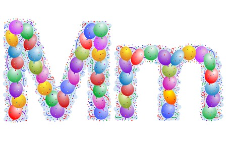 Balloons and confetti – Letter M Illustration