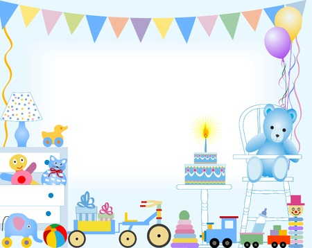 compliments:  boy first birthday Illustration