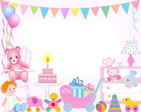 girl first birthday Vector