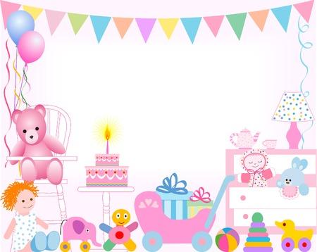 girl first birthday Illustration