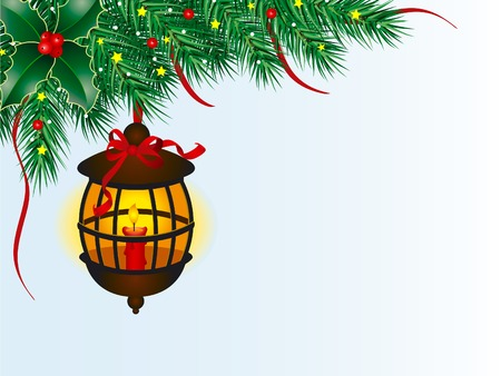 candlelight: Christmas lantern and pine branches Illustration