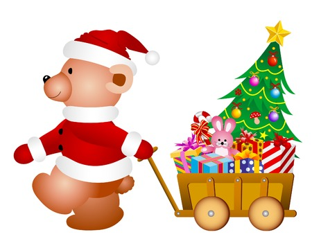 teddy bear christmas: Christmas Teddy bear with little toy wagon