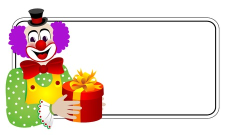 mime: Clown with gift box Illustration
