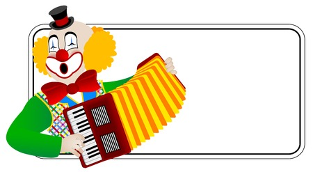 circus artist: Clown the accordionist � one of series of clowns musicians Illustration
