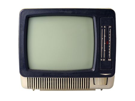 The old TV isolated on a white background Stock Photo