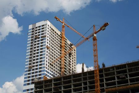 Construction of the big building in large city Stock Photo