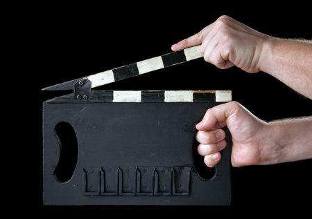 Cinema clapboard. It is isolated on a black background.