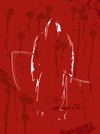 Grim reaper on red grunge a background Illustration