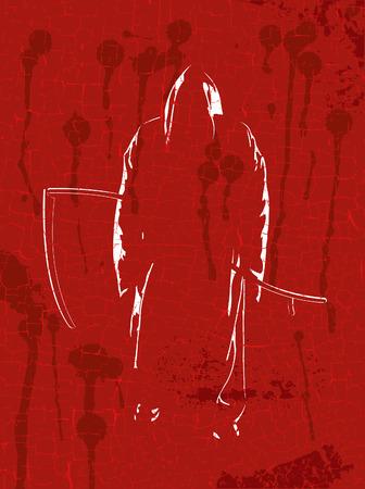 reaper: Grim reaper on red grunge a background Illustration