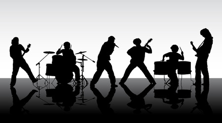 rocha: Rock band. Silhouettes of six musicians. Vector illustration.