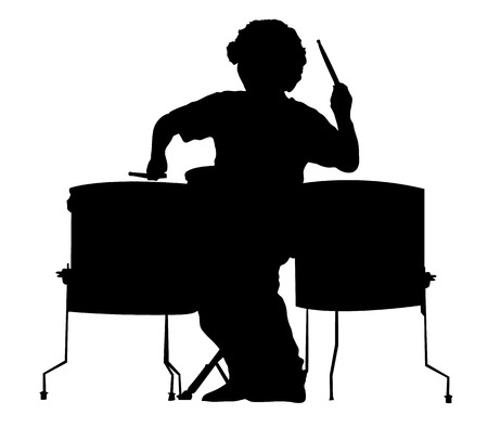 Silhouette of the drummer on a white background. A vector illustration. Vector