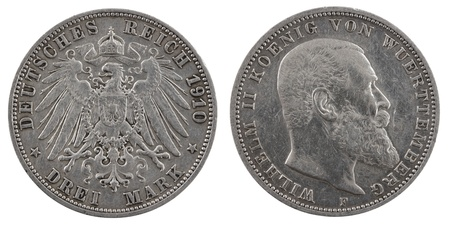 deutschemarks: Three german deutschemarks 1910. Isolated on a white background